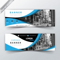 Blue Wavy Business Website Banners