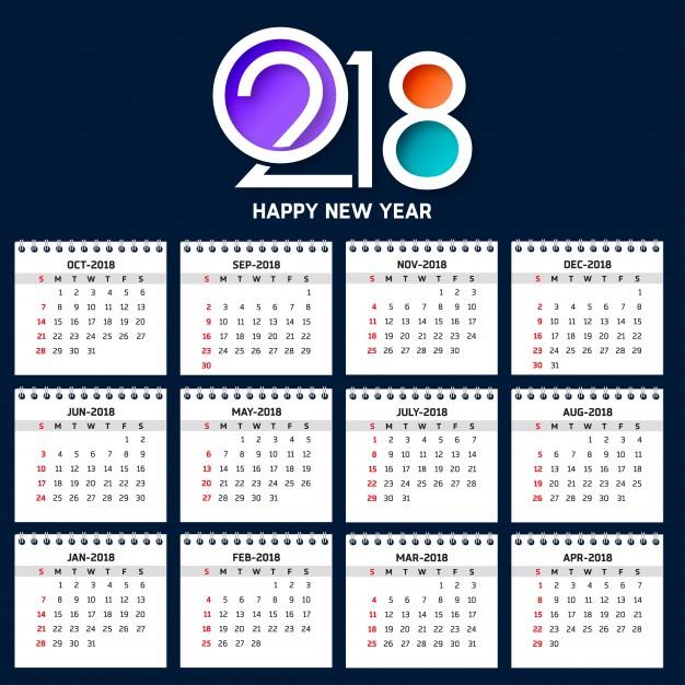 Modern Calendar Template For 2018