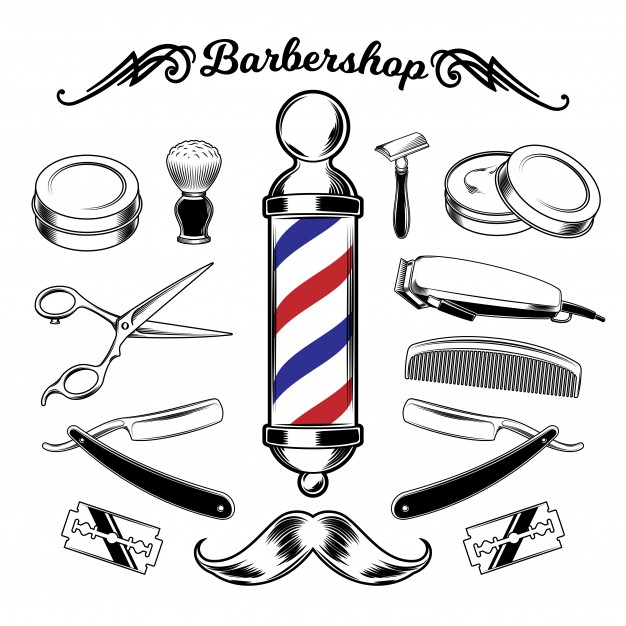 Vector Monochrome Collection Barbershop Tools