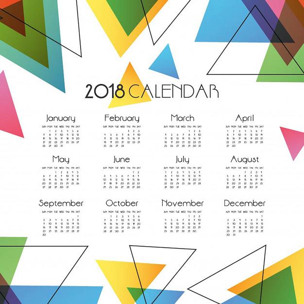 Simple Abstract Vector Calendar 2018