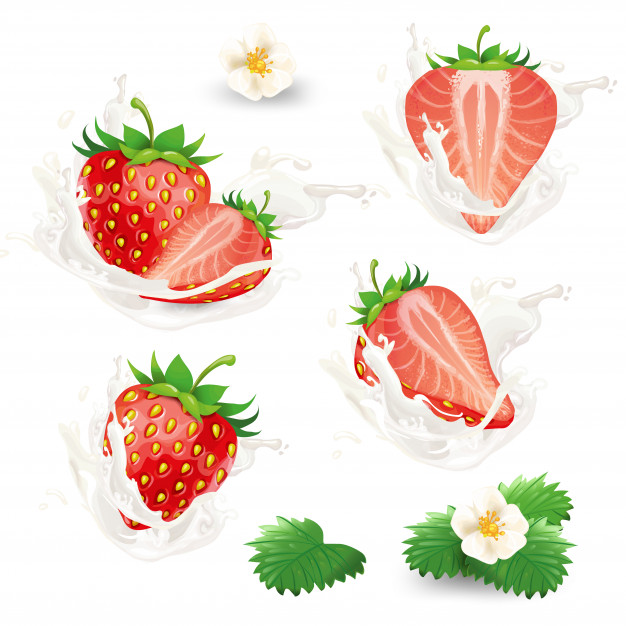 Set Of Whole And Half Strawberries With Flowers