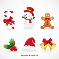 Set Of Beautiful Decorative Christmas Elements