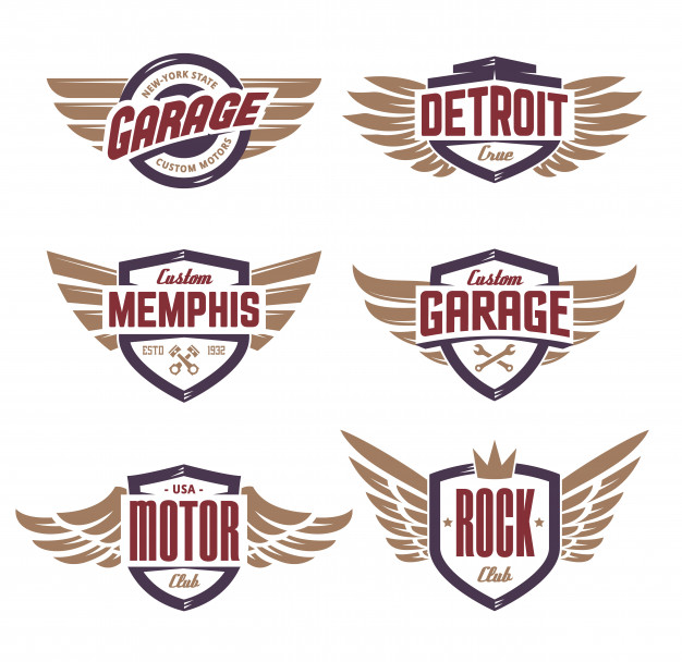 Emblems With Wings Set