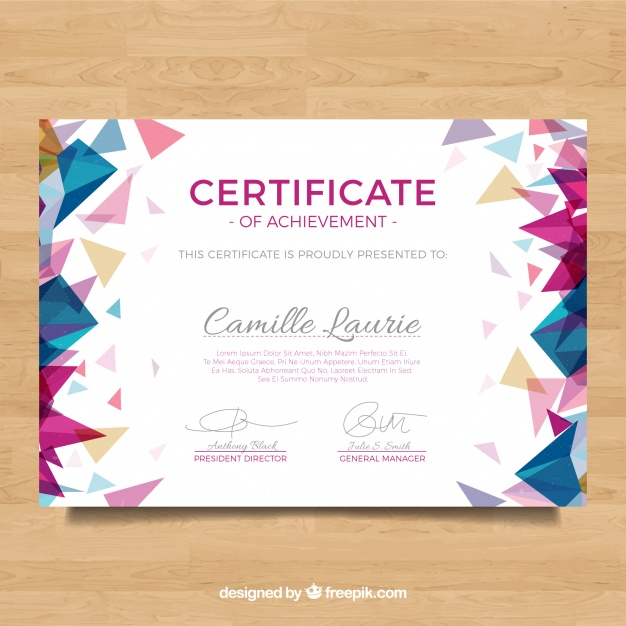 Diploma With Polygonal Colored Shapes