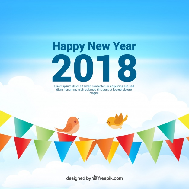 Realistic New Year 2018 Background With Garlands