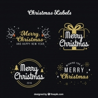 Set Of Christmas Calligraphic Ornaments
