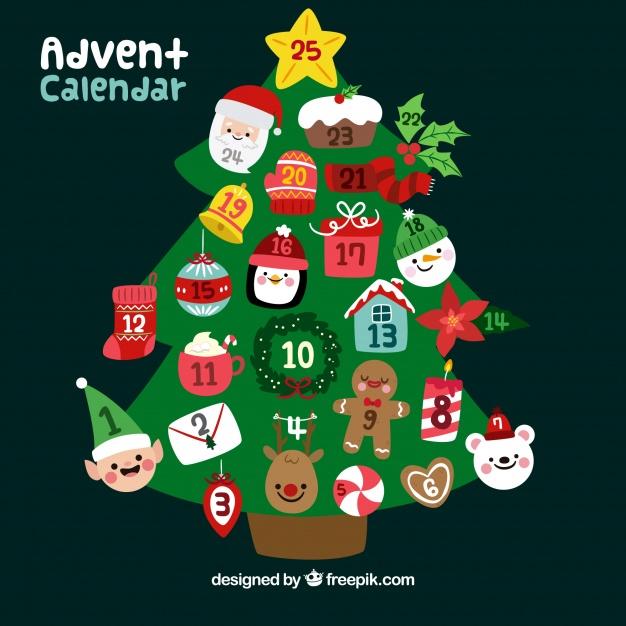 Advent Calendar In A Shape Of Christmas Tree