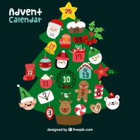 Advent Calendar In A Shape Of Christmas Tree