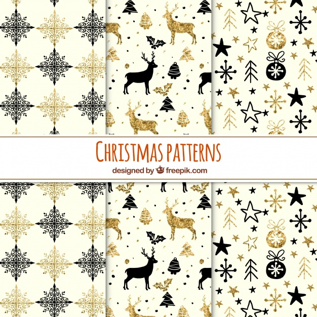 Collection Of Glittery Christmas Patterns