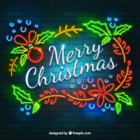 Bright Neon Christmas Background
