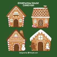 Four Hand Drawn Gingerbread Houses