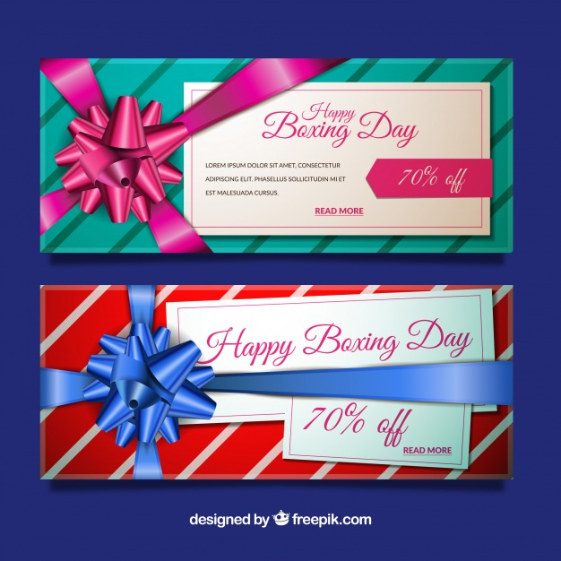 Boxing Day Sale Banners With Gift Ribbon