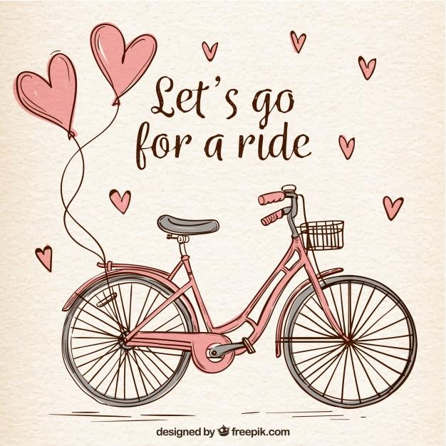 Hand Drawn Bike With Cute Hearts