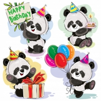Panda Bear Baby Celebrates Birthday Cartoon Vector