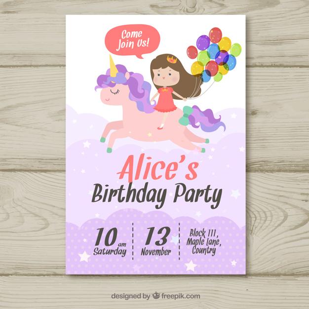 Birthday Party Invitation Girl With Unicorn