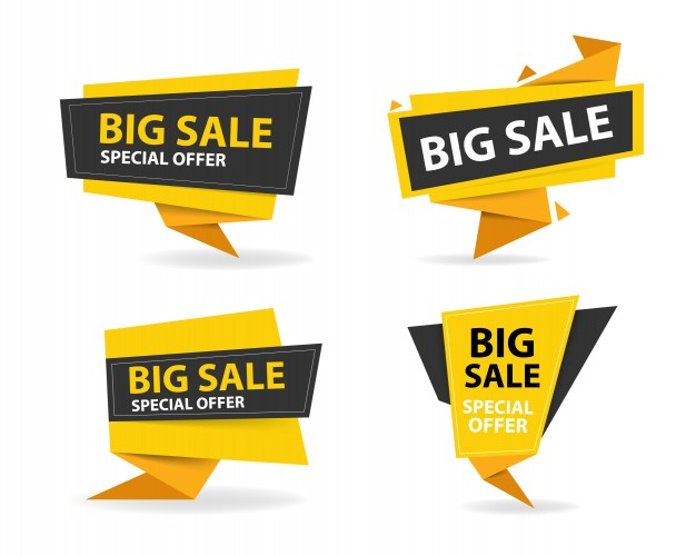 Yellow And Black Shopping Sale Banners
