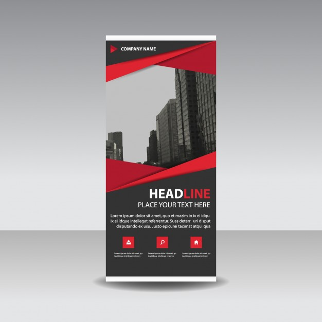 Red Creative Roll Up Banner Template