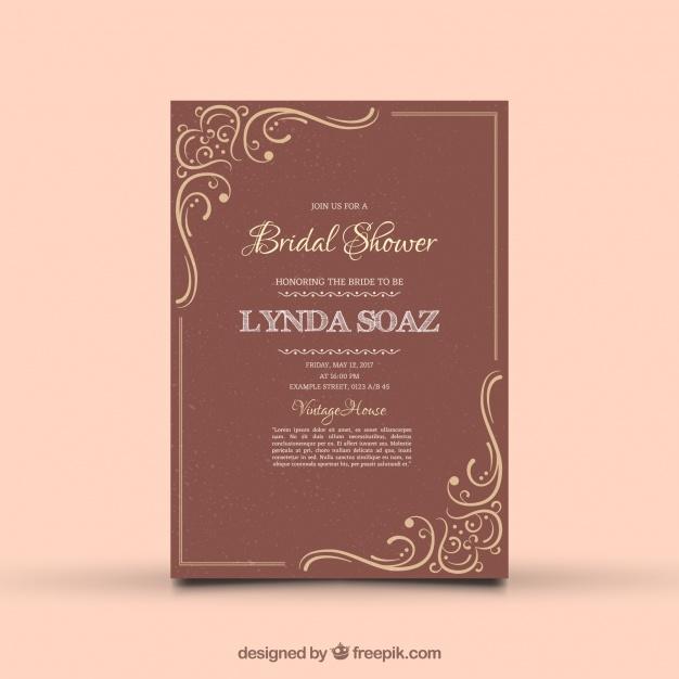 Vintage Bridal Shower Invitation With Ornamental Decoration