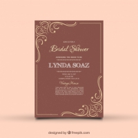 Vintage Bridal Shower Invitation With Ornamental Decoration