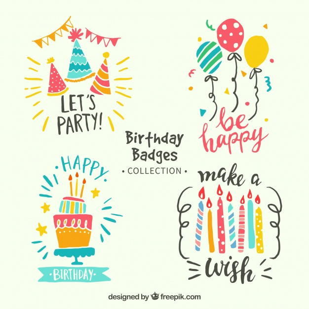 Colorful Birthday Stickers Pack