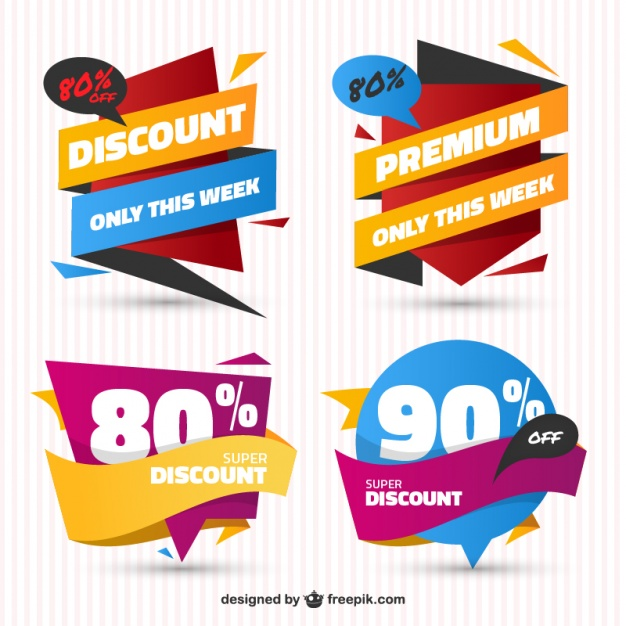 Pack Of Sale Stickers In Flat Design