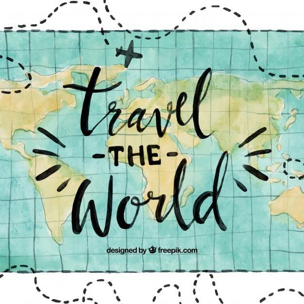Water Color Travel The World Background