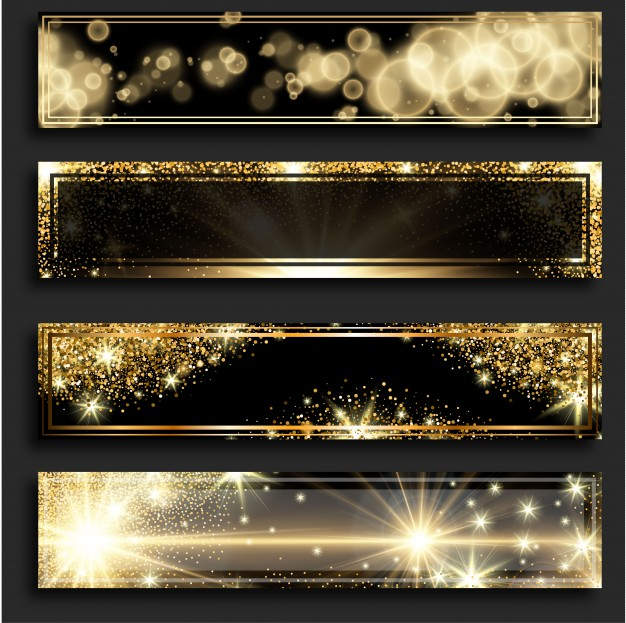 Golden Glitter Horizontal Banners