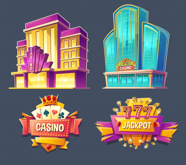 Icons Of Casino Buildings And Signboards