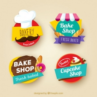 Colored Bakery Stickers Set