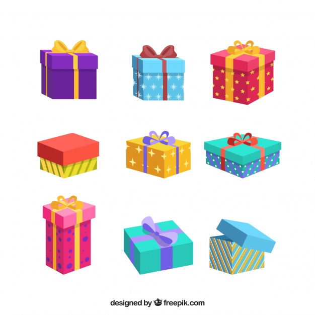 Collection Of Colorful Christmas Gifts