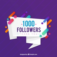 Purple Background Of 1k Followers