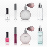 Set Of Empty Glass Cosmetic Bottles