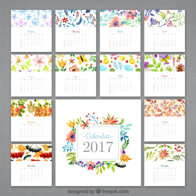 Watercolor Flowery Calendar