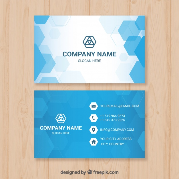 Blue Business Card With Hexagons