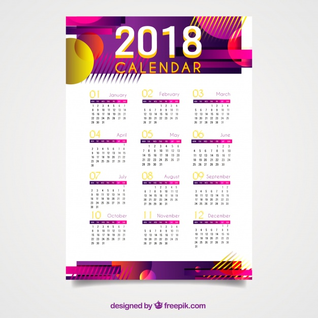 2018 Calendar With Abstract Shapes