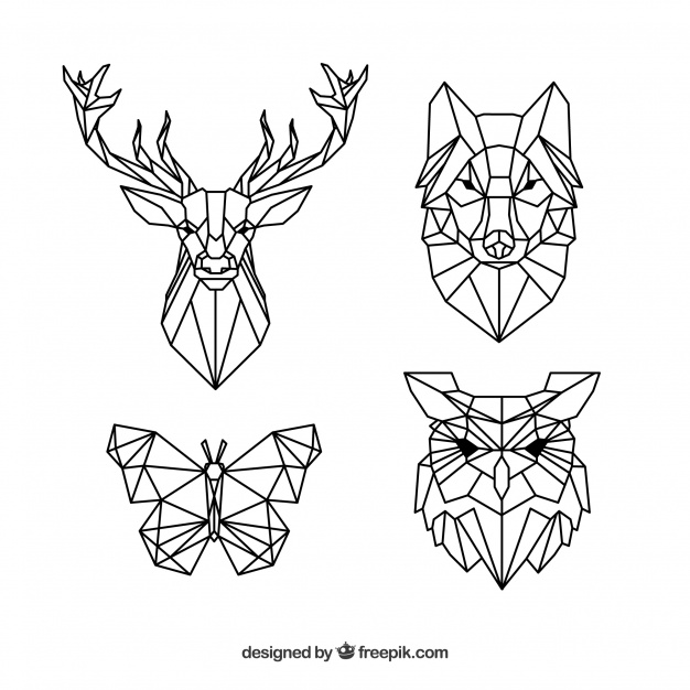 Pack Of Polygonal Animal Tattoos