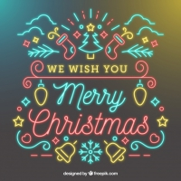We Wish You A Merry Christmas Neon Background