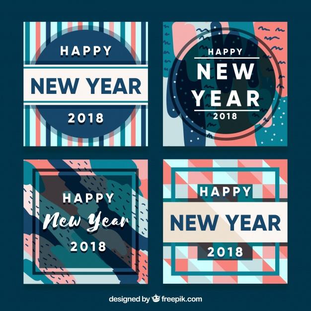 Retro Flat New Year 2018 Cards