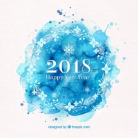 2018 Happy New Year In Blue Watercolour