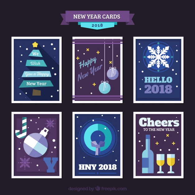 Flat New Year 2018 Cards In Purple