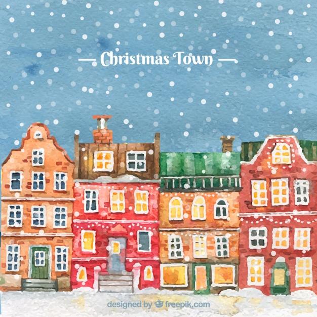 Watercolour Christmas Town