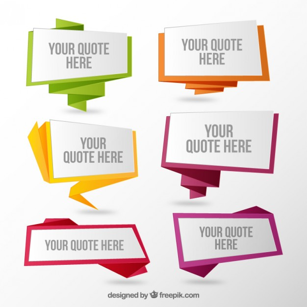 Set Of Origami Speech Bubbles Quotes