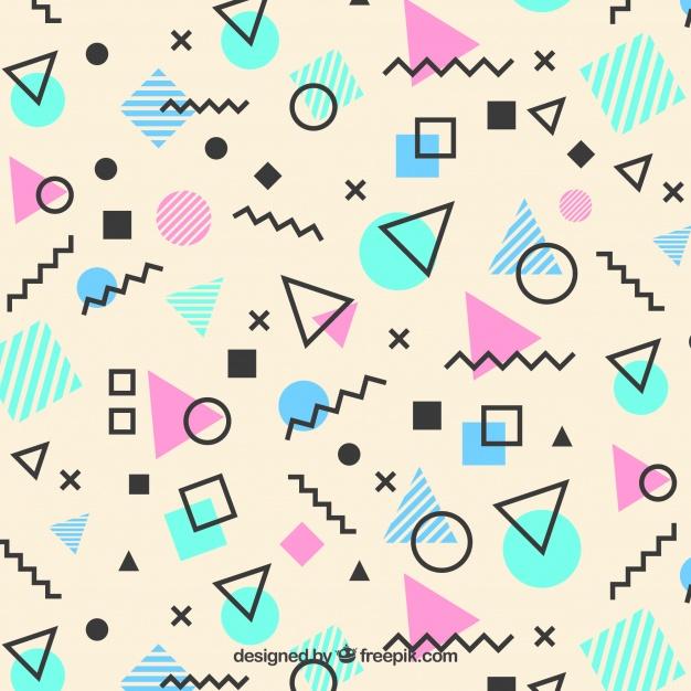 Memphis Pattern Of Geometric Shapes