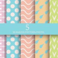 Set Of Pastel Seamless Pattern Wallpaper