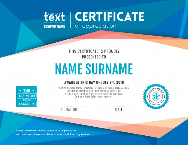 Modern Certificate With Blue Polygonal Background