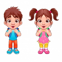 Funny Young Boy And Girl Students Vector