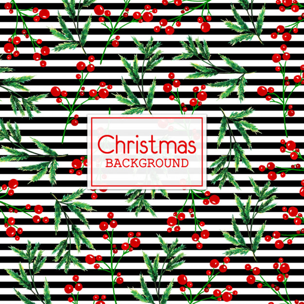 Watercolor Christmas Background With Black Stripes