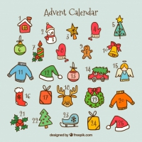 Advent Calendar With Hand Drawn
