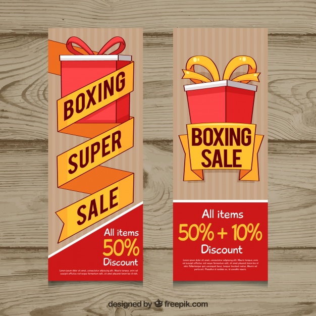 Wooden Boxing Day Sale Banner