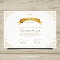 Elegant Diploma With Decorative Golden Elements